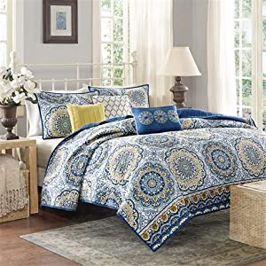 Madison Park Tangiers 6 Piece Coverlet Set - Blue - King