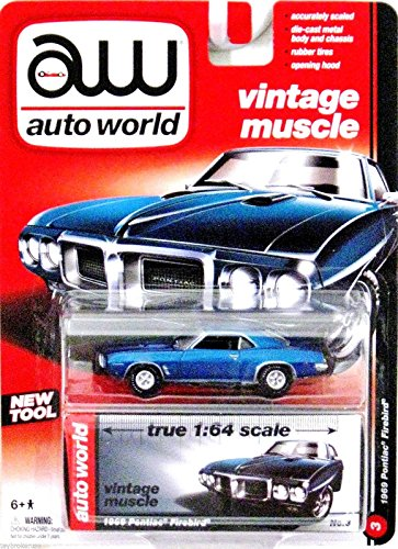 AUTO WORLD VINTAGE CUSCLE 1:64 SCALE BLUE 1969 PONTIAC FIREBIRD DIE-CAST REPLICA TOY CAR