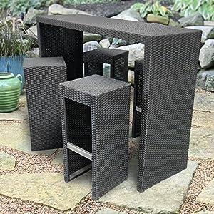 Royal Garden All-Weather Wicker 5 pc. Bar Height Patio Set - Black