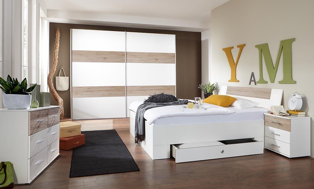 4-tlg-Schlafzimmer in Alpinweiß mit Abs. in San Remo-Eich-NB, Schwebetürenschrank B: 225 cm, Bett mit Schubkästen B: 180 cm, 2 Nachtschränke B: 52 cm jetzt kaufen