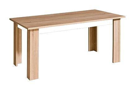 Esstisch 160x90 cm Holzfaserplatte, Ausziehbar auf 210, Farbe: Weiß