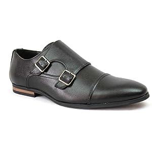 Men's Black Cap Toe Herringbone Monk Strap Dress Shoes Buckle Modern By Azar (7.5 U.S (D) MEDIUM)