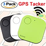 Xenzy Bluetooth GPS Tracker Anti lost Locator Key Finder Pet Dog Cat Child Wallet Bag Phone GPS Tracker Mini Locator Alarm Patch Wireless Seeker Selfie Remote Shutter for Fathers Day Gift (3 pack) (Color: white black green, Tamaño: 3 Pack)