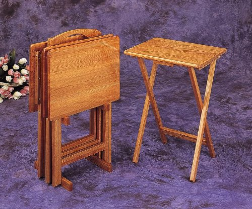 Cheap All new item 5 pc oak finish wood TV tray table set with stand (AMB 5199)