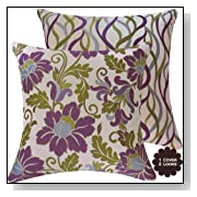 Purple Floral and Stripes Designer Throw Pillow