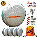 """Tire Covers for RV Wheel 4 Pack, Waterproof UV Reflective Safety Tire Protectors, Fits 26"""" to 29"""" Wheels, GIFT:Storage Bag,4 Tire Valve Cap,4-Way Valve Tool-10PC"""