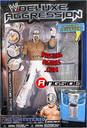 WWE Wrestling DELUXE Aggression Series 13 Action Figure Rey Mysterio White Mask [Trash Can] by Jakks Pacific