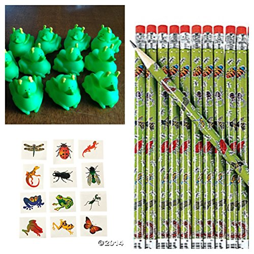 60 Creepy Crawly Creatures - Party Favors -12 Grasshopper Rubber Ducks - 12 Bug Pencils - 36 Insect Tattoos - Science Classroom Give-Aways - Teacher Incentives front-872380