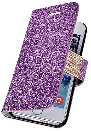 Mylife (Tm) Violet Purple {Glitter Passion And Buckle Design} Faux Leather (Card, Cash And Id Holder + Magnetic Closing) Slim Wallet For The Iphone 5C Smartphone By Apple (External Textured Synthetic Leather With Magnetic Clip + Internal Secure Snap In Ha