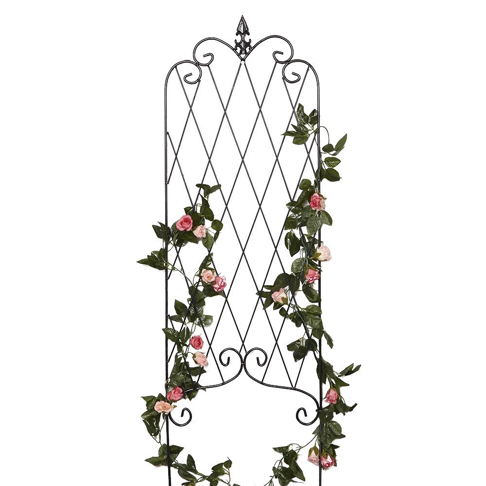"""Amagabeli 46"""" x 15"""" Rustproof Black Iron Garden Trellis for Climbing Plants Potted Vines Vegetables Vining Flowers Patio Metal Wire Lattices Grid Panels for Ivy Roses Cucumbers Clematis Pots Supports"""