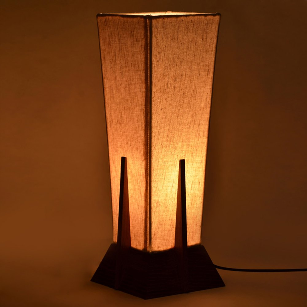 Night lamps india - Exclusivelane 14inch Pyramid Decorative Table Lamp In Sheesham Wood Gift Item Night Lamp Table Top