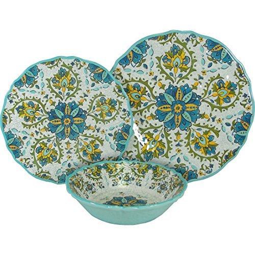 8 X Le Cadeaux Allegra Turquoise - 3 Piece Place Setting, 24 Piece Set