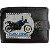 BMW F650GS F650 Motorbike Motorcycle Mans Black Real Leather Wallet Gift Present for sale Printed