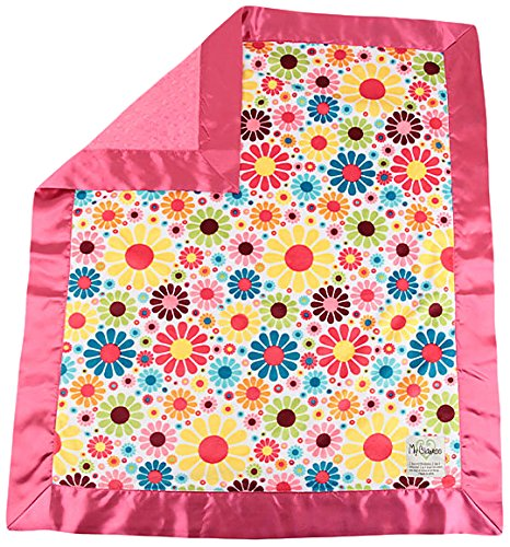 "My Blankee Flower Child Minky White w/ Minky Dot Raspberry Baby Blanket, 30"" x 35"""