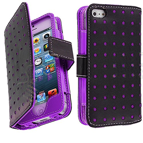 Mylife (Tm) Vibrant Violet And Punk Black - Modern Design - Textured Koskin Faux Leather (Card And Id Holder + Magnetic Detachable Closing) Slim Wallet For Iphone 5/5S (5G) 5Th Generation Itouch Smartphone By Apple (External Rugged Synthetic Leather With