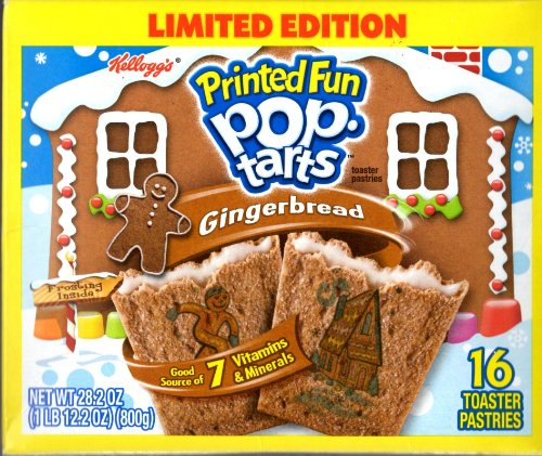 Kellogg's Printed Fun Pop Tarts, Gingerbread - Limited Edition 16 Count Toaster Pastries, 28.2 oz Box
