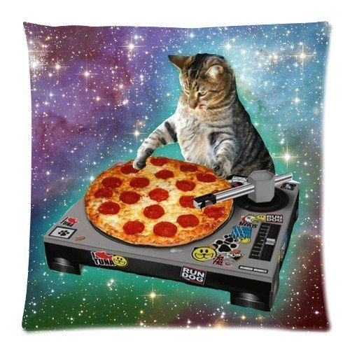 Umak Custom Food Funny Creative Hipster DJ Cat Pizza Cat Galaxy Pizza Cat Design Zippered pillowcase DIY Pillowslip Decorate Sofa Bed Pillow case cover(18*18 Two Sides) Gift For Fans Children Valentine's Day