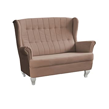 Design Zweisitzer Sofa Windsor, Modernes Couch, Couchgarnitur, Sofagarnitur, Microfaser, Polstermöbel, Wohnlandschaft (Amore 57)
