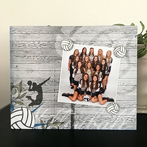 Hard Court Volleyball Sports team coach player mom dad custom photo gift handmade magnetic picture frame holds 5