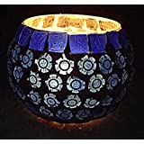 Indian Handmade Glass Diya Candle Holder Blue Color