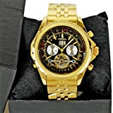 Luxury Golden Steel Day Date Month Automatic Mechanical Mens Mans Wrist Watch