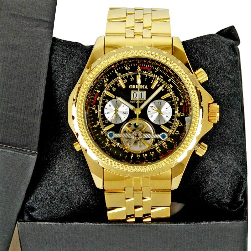 Luxury Golden Steel Day Date Month Automatic Mechanical Mens Man'S Wrist Watch