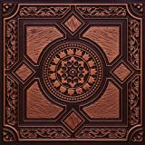 """Faux Antique Copper #303ur Plastic Ul Rated Ceiling Tile Flat Design Can Be Glue on Clean Smooth Flath Surface, Also Can Glued Over Popcorn Ceiling 24""""x24"""" with Overlaping Edges. Fire Rated!"""