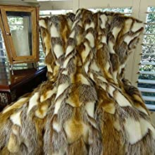 Gold Faux Fur Throw Blanket and Bedspread - Brandy Fox Fur - Gold Light Brown White Gray Faux Fur -