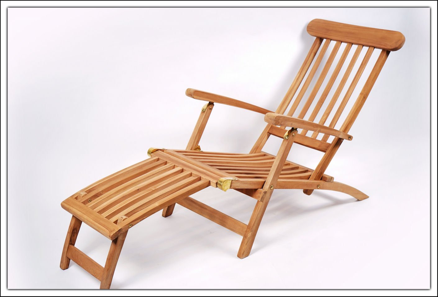 massiver teak deckchair mit verstellbarer r ckenlehne. Black Bedroom Furniture Sets. Home Design Ideas