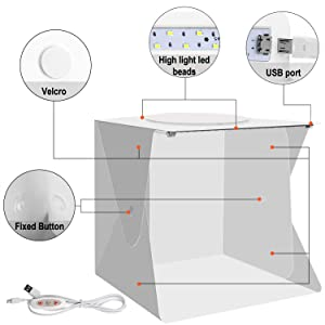 Portable Photo Studio,Trekoo Mini Folding Photography Lighting Box Shooting Tent Kit with Top Hole,Adjustable Brightness 2 LED Lights and 6pcs Background (Color: white)