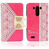 Suppion 1pc Fashion Black Fresh Cute Flip Wallet Leather Case Cover for Lg3 (Pink LG)