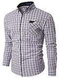 Doublju Mens Casual Pocket Detailed Plaid Shirts