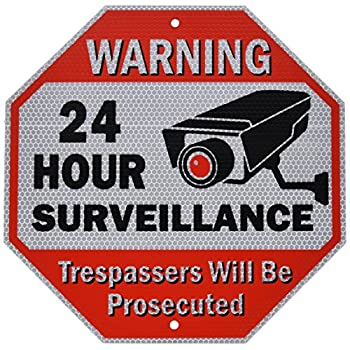 Diamond ULTRA REFLECTIVE Warning 24 Hour Surveillance No Trespassing Metal Sign | with for home business Video Security CCTV Camera | 12