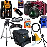 "Nikon COOLPIX L830 16 MP CMOS Digital Camera with 34x Zoom NIKKOR Lens, HD Video & Tiltable 3"" LCD - Red (Import) + 4 AA High Capacity Batteries with Quick Charger + 10pc Bundle 32GB Deluxe Accessory Kit w/ HeroFiber® Ultra Gentle Cleaning Cloth"