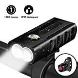 LED Bike Light Set,USB Rechargeable Bicycle Lights Headlight Front and Back Rear Tail Light, Built in 2600 mAh Battery Super Bright Waterproof Safety Flashlight For Mountain Road Kids Men Cycling (Color: Black)