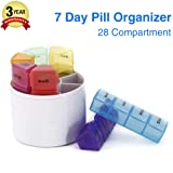 GSLL 7 Days Pill Organizer Box, Medicine Remainder Round Small Pill Case 28 Compartments Rainbow Color