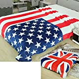 Soleil 国旗 柄 オシャレ 毛布 シングル ~ ダブル サイズ 用180×200 ( アメリカ 米国 星条旗 )