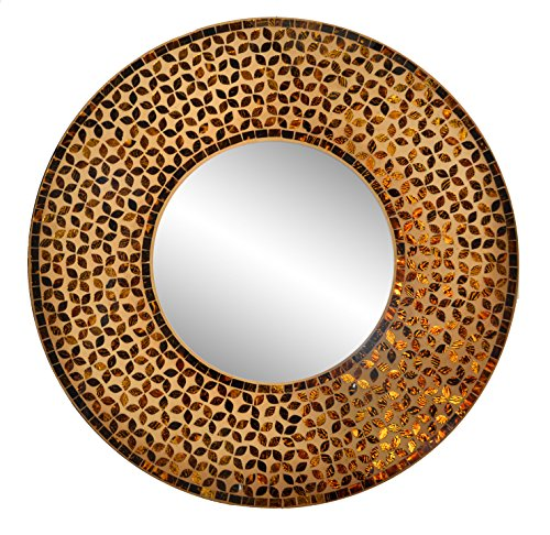 Lulu Decor, Flower Mosaic Wall Mirror, Decorative Handmade Round Mirror, Diameter 23.5