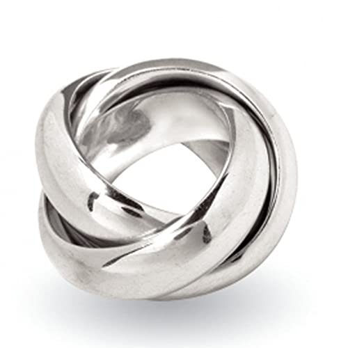 SKIELKA DESIGNSCHMUCK Heavyweight Solid 925 Sterling Silver Ring with 3 Bands, 16mm in Goldsmiths Quality