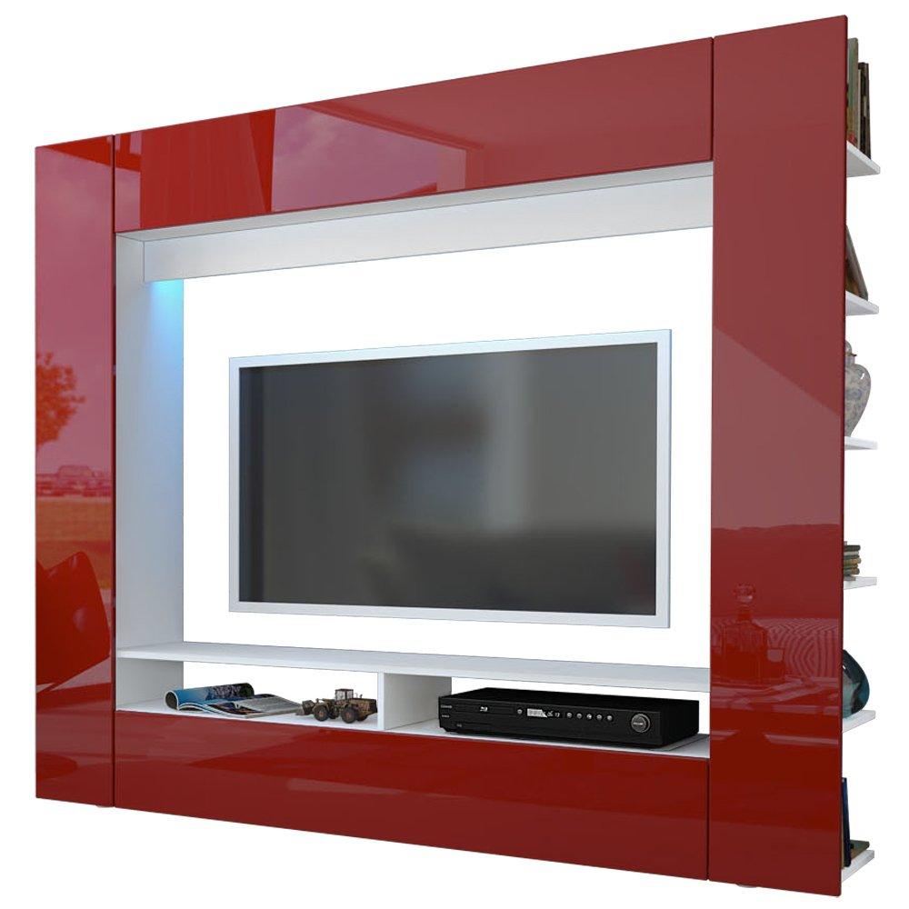 Wohnwand Anbauwand Olli in Weiß / Bordeaux Hochglanz inkl. LED Beleuchtung  Kundenbewertung und weitere Informationen