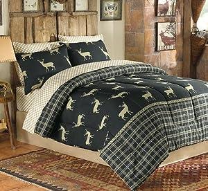 Deer elk moose hunting cabin themed king for Hunting cabin bedroom