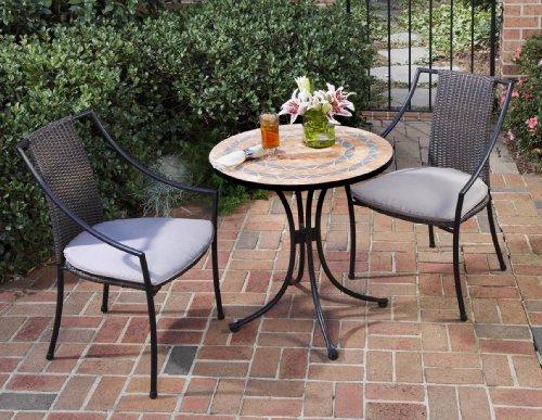 Home Style 5603-340 3-Piece Outdoor Bistro Set, Terra Cotta Finish