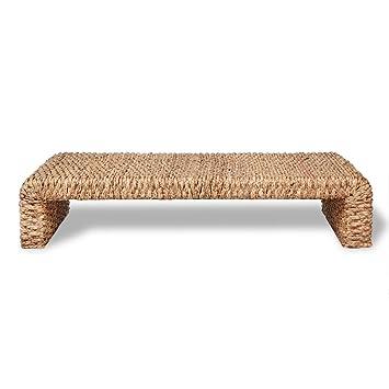 Anself - Mesa de centro, tejida a mano de jacinto de agua y estructura de madera