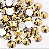 Crystal AB/Crystal Color Nail Art Size ss3 ss4 ss5 ss6 ss8 Flatback Glass Rhinestones Glue Fix (ss3 (1.4mm) 1440 pcs, Dorado) (Color: Dorado, Tamaño: ss3 (1.4mm) 1440 pcs)