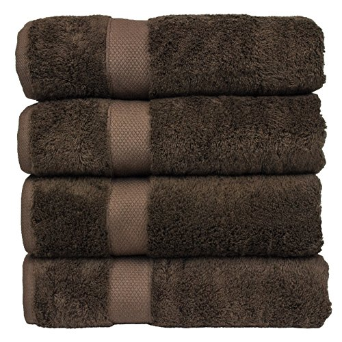 Luxury Hotel & Spa Towel 100% Genuine Turkish Cotton Bamboo (Cocoa, Bath Towel - Set of 4 ) Cocoa Bath