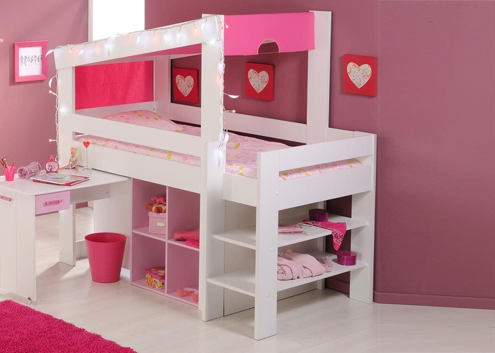 Jumbo-Möbel Hochbett BIOTIFUL 5 in Weiß & Rosa jetzt bestellen