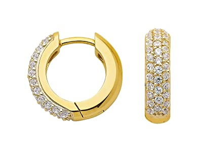 Creole Earrings with Zirconia Made of 333 8 K Gold
