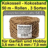 à 3.5 mm coir rope coir yarn tree binder garden twine garden strip of coconut fiber 100% natural fiber (à 3.5 mm - 50 m - Capacity up to 16 kg.)