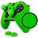 ParticleGrip Studded Skin Set for Xbox One (& One S) by Foamy Lizard – Patent Pending Silicone Skin Cover Antislip Studs Plus Matching Set of 4 AceShot Analog Thumbgrips (Green) (Color: Green, Tamaño: Studded Skin + 4 Thumb Grips)