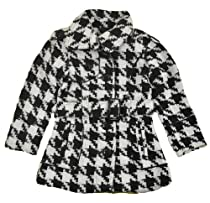 Yoki Big Girls White-Black Single-Breasted Houndstooth Faux Wool Coat ((L) 12/14)